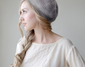 Light Grey Slouchy Beanie Beret Gray Hat - Silk Alpaca