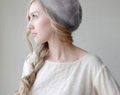 Light Grey Slouchy Beanie Beret Gray Hat - Silk Alpaca