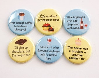 Food Magnets, Magnets, Wine, Chocolate, Coffee, Dessert, button magnets, Kitchen Magnets, Yellow, Blue, stocking stuffer (3381)