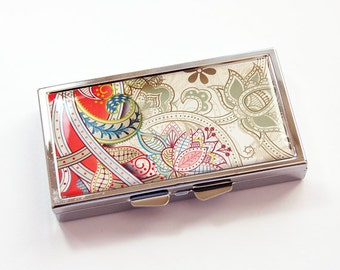 Red Paisley pill case, 7 sections, 7 day,  Pill case, Pill Box, Paisley case, Gift for her, pill case for her, Kellys Magnets (3823)