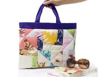 Patchwork bag, Handmade Quilted Patchwork Bag, Tote Bag, Eco Friendly, Tablet Bag, Pocket bag, Soft bag, Natural Bag, Shopping bag, Book bag
