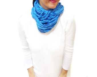 Chunky Scarf, Scarf, Infinity Eternity Scarf, Chunky Cowl, Blue, Noodle Scarves, Cotton Fashion, Spring // Autumn Scarf