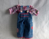"""Overall  and  T-Shirt  for 16""""-18"""" waldorf doll  - blue jeans and pink jersey"""