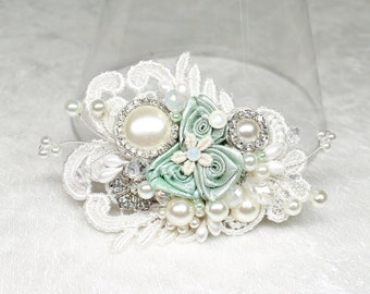 Mint Hair Accessories-Mint Green Bridal Hair Comb-Floral Bridal Comb-Mint Green Hair Comb-Vintage Inspired Comb-Rhinestone & Pearl hairpiece