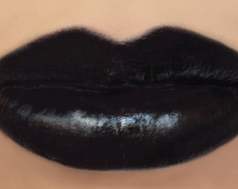 "Vegan Lipstick - ""Raven"" (opaque black lipstick color) natural lip tint, balm, halloween makeup mineral lipstick"