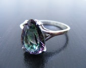 15% Off Sale.S297 Made to Order...New Sterling Silver Simple Basket Designed Ring with 8 carat Teardrop Cut Mystic Topaz Gemstone