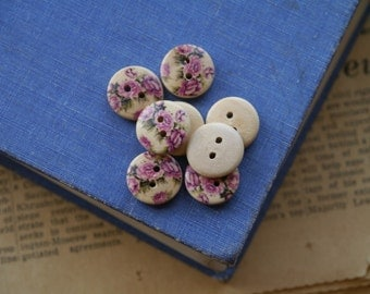 20 Wooden Pink Rose Floral Flower Buttons 15mm  (WB2139)