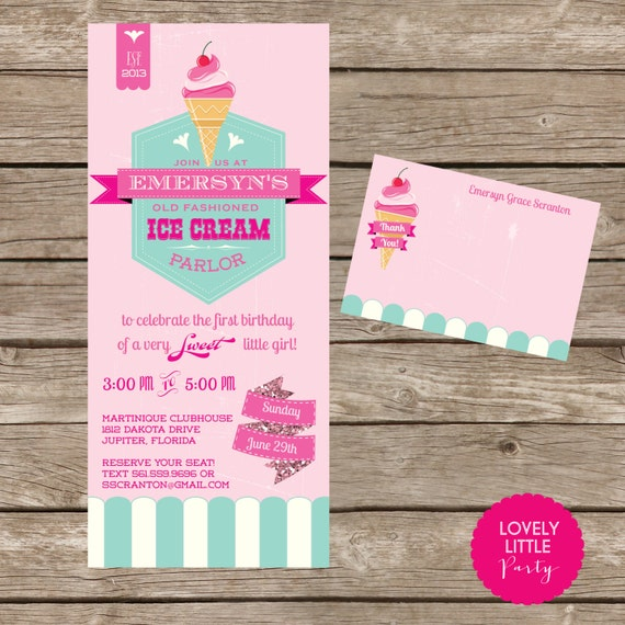 DIY Printable Vintage Ice Cream Parlor Invitation Kit - Invite AND Thank You Card included