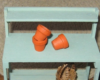 Dollhouse Miniature Terra Cotta Colour Pots Plant Garden Accessories Plants 1/12th Scale