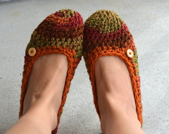 Cozy Autumn Colors Womens Crocheted Slippers