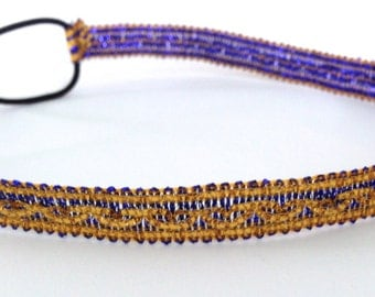 SALE // Bright Blue and Gold Headband
