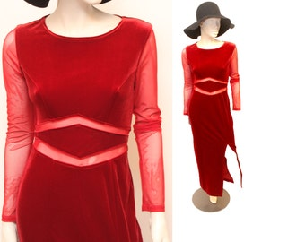 90s Red Velvet Cut Out Maxi