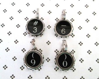 Typewriter Key Charm Vintage Black and White Number Keys 3, 6, & 0