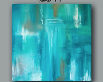Large wall art, Teal abstract, Canvas art print, Teal home decor, Teal & brown, Turquoise, Blue, Bedroom decor, Living room artwork, Dining