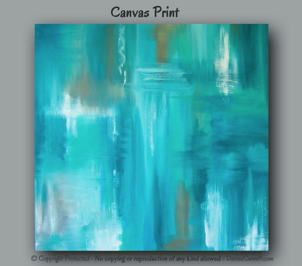 Large Wall Art Teal Abstract Canvas Art Print Teal Home