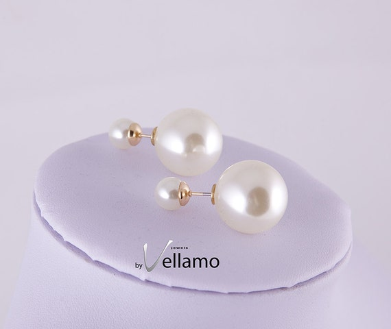 large two way faux pearl earrings cream white large by. Black Bedroom Furniture Sets. Home Design Ideas