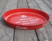 Coors Beer Tray Vintage Oval Red Metal Barware for Outdoor Dining