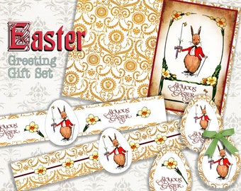 EASTER BUNNY - Printable Download Digital Collage Sheet different size images Vintage Ephemera Paper Craft, Scrapbook, Gift tags