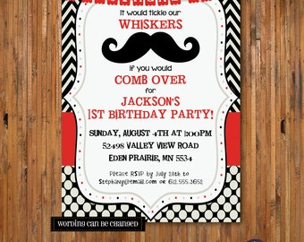 Mustache Bash Birthday invitation - Stache Bash First Birthday 1st, 2nd, 3rd, 4th, 5th, Birthday stache bash -  Item 0130 -DIGITAL FILES