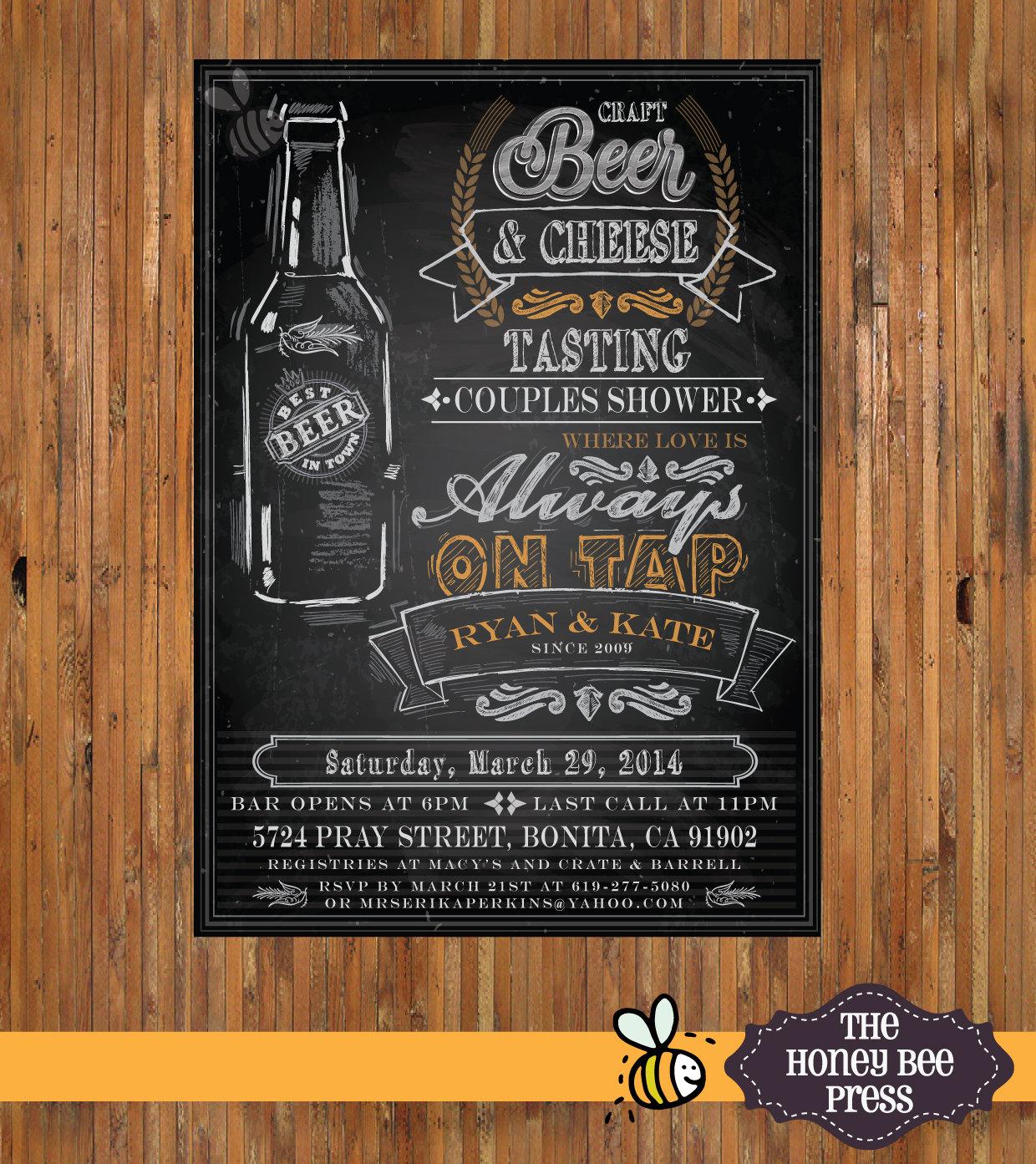 Beer Couples Shower Invitation Chalkboard Beer Invitation