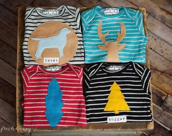 """Swanky Baby Boy (4 long sleeved body suits) """"Fall In Line"""" Gift Set"""