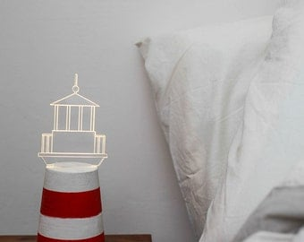 Lighthouse bedside lamp / nightlight ,  Nautical lamp / home decor - LIMITED EDITION