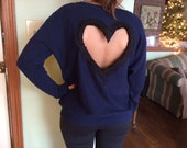 SIZE SMALL Heart Back Navy Blue Sweater with black/ivory W in front
