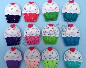 1 Dozen Handmade Felt Mini Cupcake Ornaments