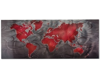 Map Artwork - Travel Art 'Red/Pewter Land & Sea v1' - 48x19in. - Rich Abstract World Art. World Map Art Prints - Maps Decor