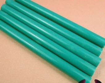 5 Teal Blue Green Mini Hot GLUE STICKS / Deco Sauce / Fake Icing / Nail Art Stick / Faux Wax Seals USA Shipping
