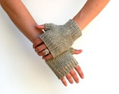 MORE COLORS Nature Walk Mitts ~ Hand Knit 100% Undyed Natural Wool Fingerless Gloves Short Hand Wrist Warmers Winter Accessory