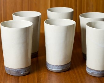 40% off Sale: Large Grey dipped White Stoneware Cups / Tumblers, Handmade Modern Simple - Sold individually - pottery cups - ready to ship