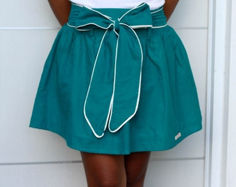 Teal Mini skirt with Sash, Bridesmaid Skirt