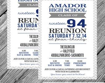 High School Reunion Printable Invitation - Herringbone - Chevron