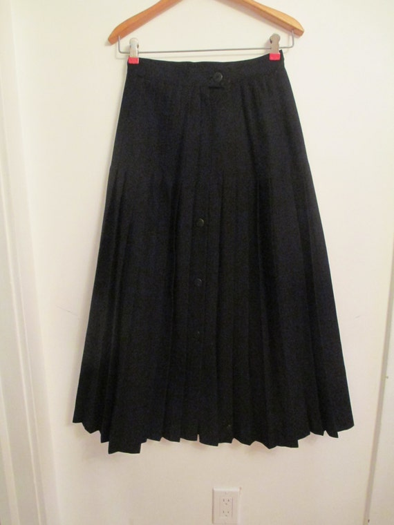 black wool skirt canadian vintage winter woolen pleated