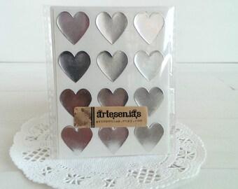 108 Silver heart stickers - 3/4 inch heart stickers - silver foil hearts envelope seals