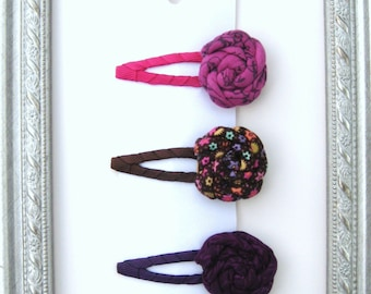 3 pack Fabric Flowers on Snap Clips~ FREE Shipping