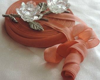 2 Yds.Vintage  Woven Rayon Ribbon/Seam Binding/Supplies/Crafts/ Scrap booking/  Light Terra Cotta Color