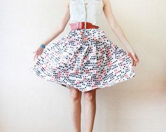 White silk abstract print full pleated skirt