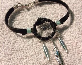 Black Buckskin Leather Silver Thread Dreamcatcher Bracelet