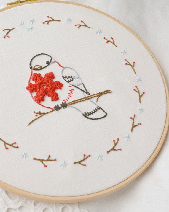 Winter Bird Embroidery Pattern Christmas Embroidery By