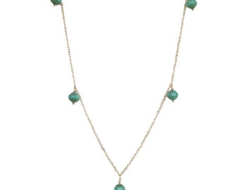 Necklace with Mint Green Czech Glass Beads