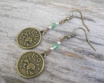 Leo the Lion Earrings, BRONZE Zodiac Earrings, Personalized, Ruby or Peridot Swarovski Birthstone, Astrology Earrings, July August Jewelry