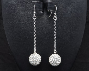 White Clear Rhinestone Crystal Pave Earrings: 14mm