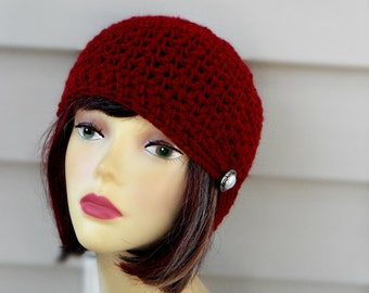 Burgundy Crochet Hat Womens Beanie Hat Womens Winter Hat Womens Accessories Winter Accessories