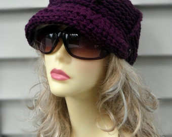 Crochet Brim Hat Crochet Newsboy Hat Womens Hat Winter Hat Girls Brim Hat Fashion Accessories Hair Accessories