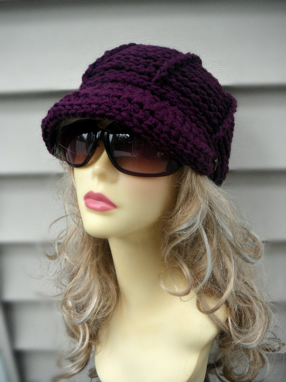 Crochet Brim Hat Crochet Newsboy Hat Womens Hat Winter Hat