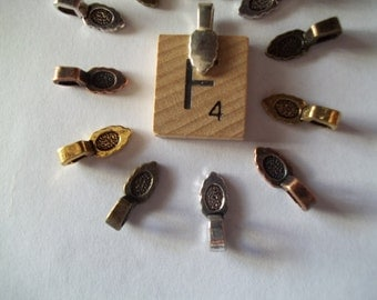 5 small Glue On Bails for DIY Projects Choose heart leaf or flower in goldtone silvertone or bronze