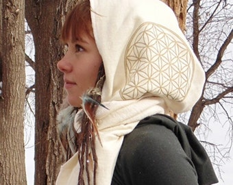 Hydra Hood Scarf: Hooded Wrap Scarf with Flower of Life Prints. Hemp Organic Cotton Fleece. Sacred Geometry Print Festival Hood Scoodie.