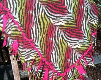 Fleece Blanket with WOVEN Edge - Zebra Stripes in Pink and Green with Hot Pink